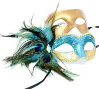 Turquoise and Gold Peacock Couple Mask